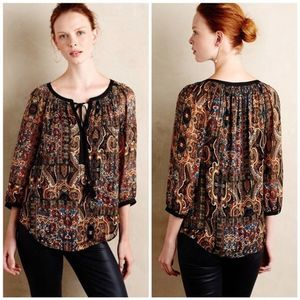 Meadow Rue Anthropologie Paisley Metallic Blouse